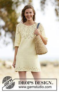 """Gebreide DROPS jurk met korte mouwen, ronde pas en kantpatroon van """"Paris"""". Wordt van boven naar beneden gebreid. Maat: S - XXXL. ~ DROPS Design"""