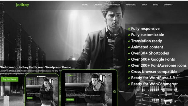 Download Free Jedkey v1.0 Responsive FullScreen WP Theme