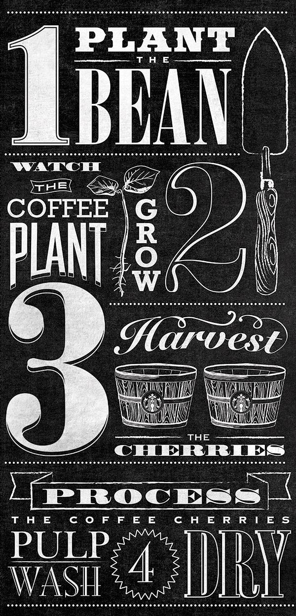 Starbucks Bean to Beverage Typographic Mural on Behance