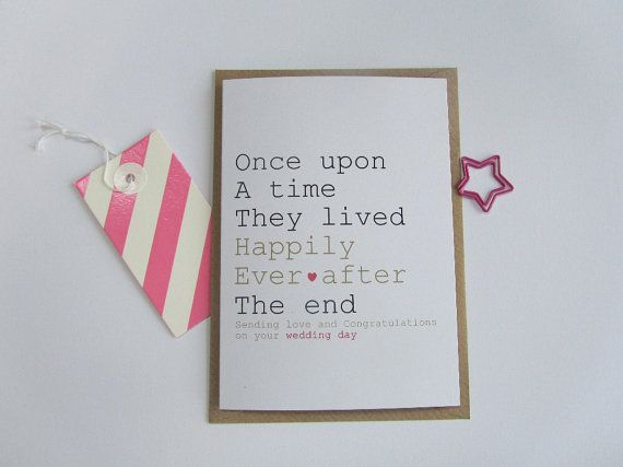 Recycled wedding card. Happily ever after card. Once upon a time wedding card. Card for wedding, civil ceremony. Modern, pink, gold, hearts.