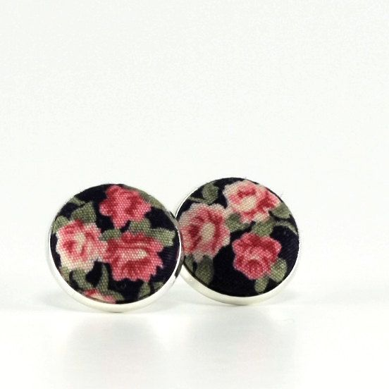 Stud Earrings - Night Roses - Red Black Green Fabric Covered Buttons Earrings - Romantic Silver Toned Jewelry