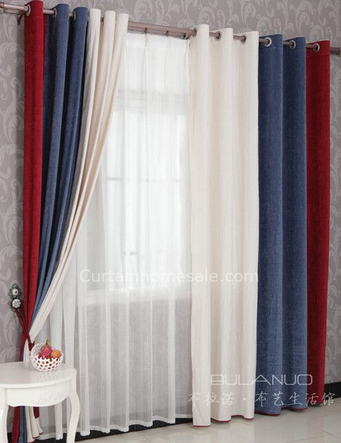 Boys Bedroom Curtains in Red Blue and White Combined Colors for Eco-friendly