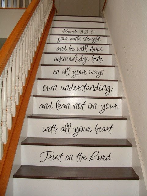Wall Decal - Staircase Decal - Proverbs 3:5-6 Bible - Religious Inspirational STAIR CASE Art Wall Decals Wall Stickers Vinyl Decal Quote on Etsy, $34.95