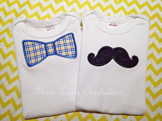 mustache and bow tie onsie or tshirt gift set baby shower birthday