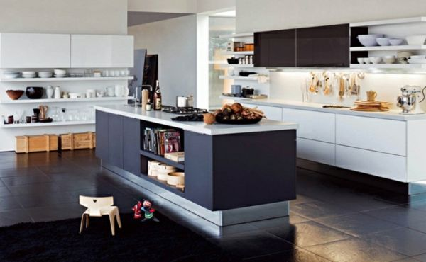 20 moderne Kücheninsel Designs - grau weiss kücheninsel idee - moderne k chen mit insel