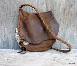 Rustic Leather and Lace Small Bag in Distressed Brown Harness by Stacy Leigh