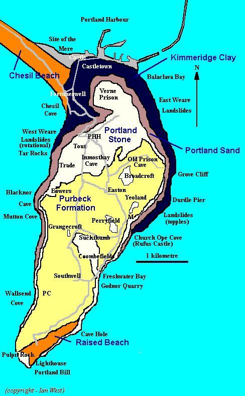 portland england map | Geological Map of the Isle of Portland