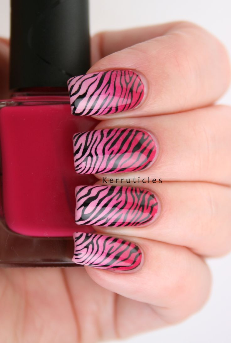 Pink zebra nails nails pinterest - Some Gradient Pink Zebra Nails In Support Of Net Cancer Day The Gradient Is Two Nella Milano Pinks Stamped With Bundle Monster