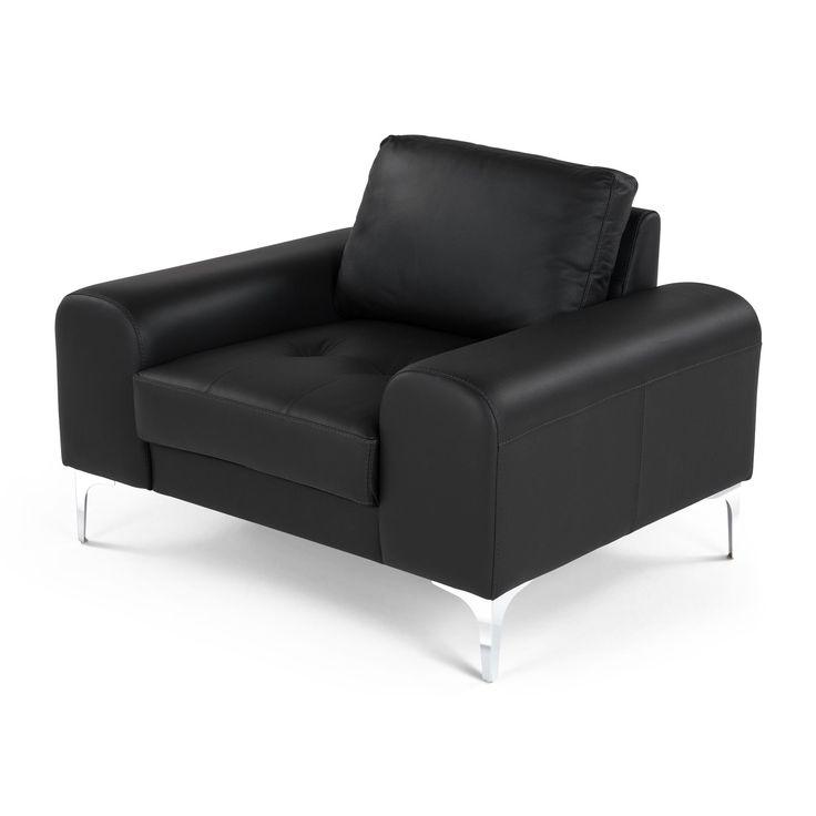 Кресло Vittorio кожаное черное