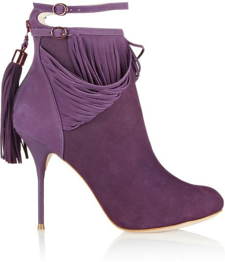 Sophia Webster Kendell Fringed Suede Ankle Boots in Purple - Lyst