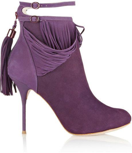 Sophia Webster Kendell Fringed Suede Ankle Boots in Purple - Lyst =