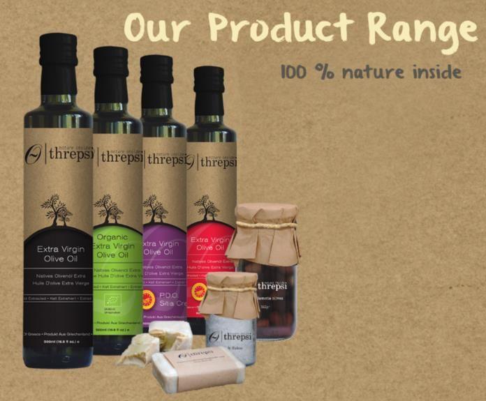 Threpsi Products - Extra Virgin Olive Oil (Original, Organic, PDO Sitia Crete, PDO Kalamata) - Kalamata Olives - Natural Sea Salt Flakes - Traditional handmade olive oil soap