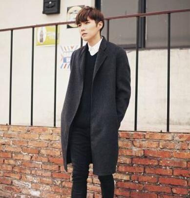 Men clothing long design wool coat mens business casual no button woolen coats mens plus size trench coat grey casualouterwear