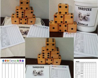 YARDZEE Farkle Yahtzee cèdre Dice jeu livraison gratuite avec laminé Score cartes disponible en sac ou seau à étiquette
