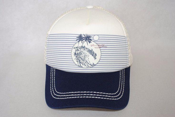 Roxy Women's Mesh Trucker Sand Pier Beige/Navy Cap Hat Adjustable Osfm