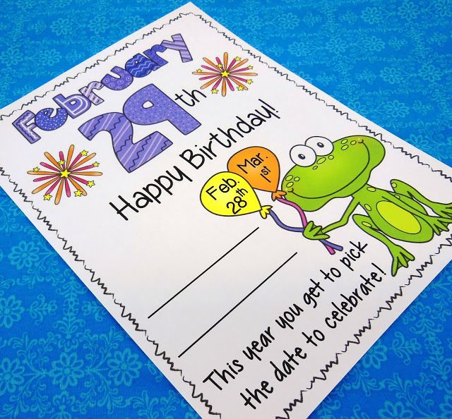 Here's a free birthday certificate for the child in your classroom with a February 29 birthday!  Although Leap Year only comes around once every four years, your student will be honored by receiving this special birthday tribute made for his or her unique February date.