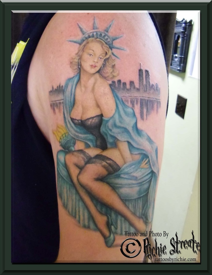 Statue Of Liberty Pin Up Tattoo  Tattoos By Richie