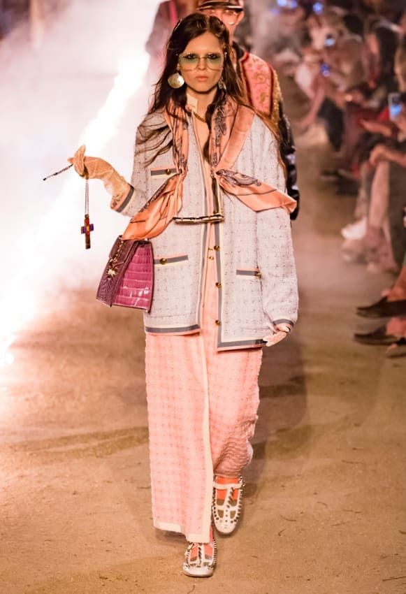 caed47ba9ac A look from Gucci s Cruise 2019 collection.  Gucci  pinkpants  pinkcoat   pinkgucci  pinkbag