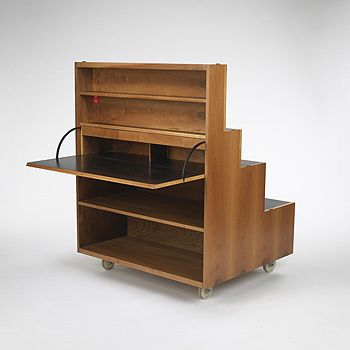 Achille & Pier Giacomo Castiglioni, Rampa - Stairs, 1963. For Bernini, Italy. Multi-purpose unit with 3 storage compartments and one drop-front writing surface concealing 6 drawers and one shelf. Via Wright.