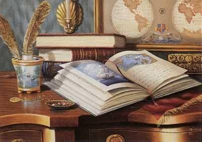 Natureza Morta com livros  Judith Gibson ( Reino Unido, comtemporânea)
