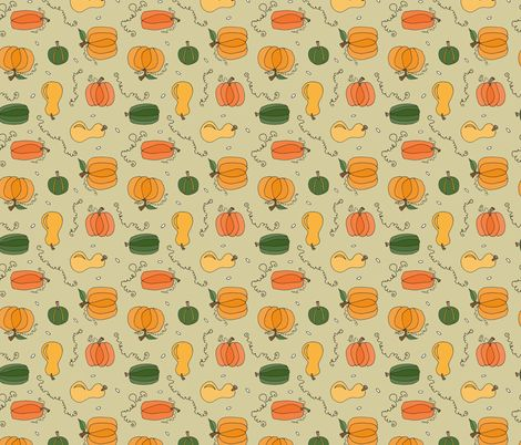 Pumpkins and Squash fabric by brendazapotosky on Spoonflower - custom fabric