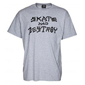 Thrasher Skate And Destroy T-Shirt - Grey