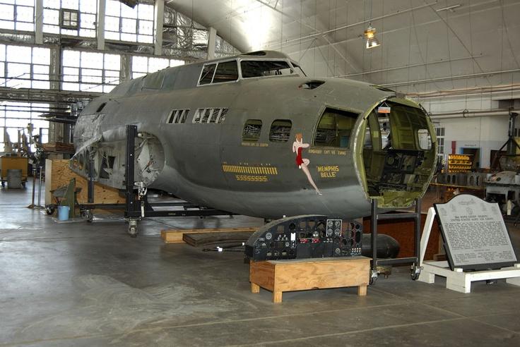 "B17F ""Memphis Belle"" in the restoration hangar at the"