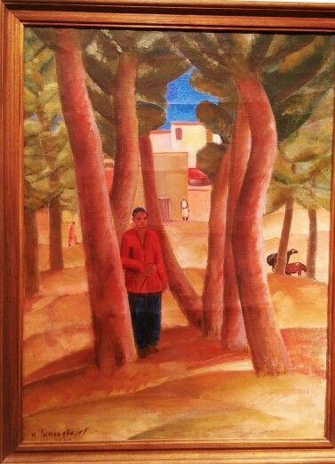 Урал Тансыкбаев (1904-1974)  Розовый пейзаж с фигурой мальчика 1933  ХолСТ Масло  Ural Tansykbayev (1904 1974)  Pink landscape with boys figure. 1933  Oil on canvas