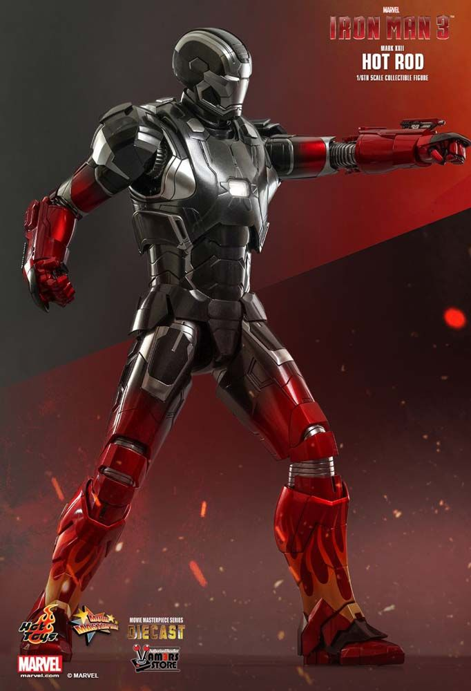 Hot Toys Diecast Iron Man Mark XXII Hot Rod collectible is based on Robert Downey Jr's character from the movie Iron Man 3 and is a Hot Toys Exclusive item.