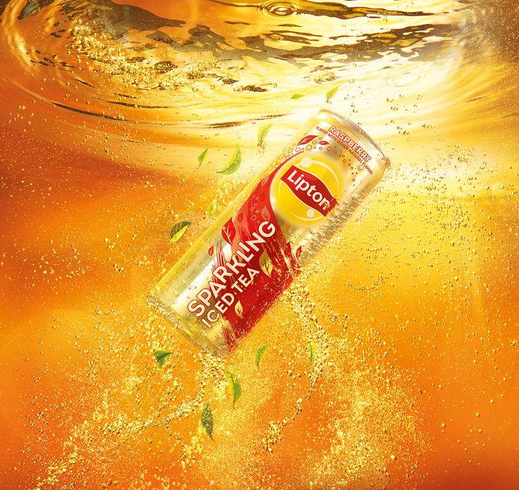 Floating sparkling iced tea can #DrinksPhotography @liptonicedtea