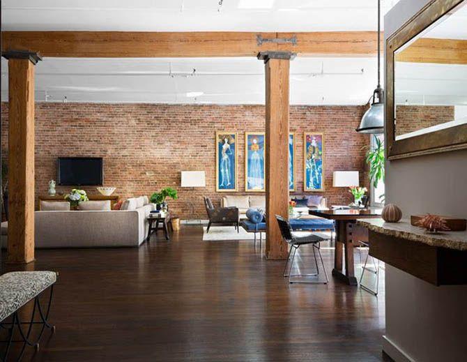 Wonderful Modern Loft Apartment New York. Exposed Brick Walls And Wood Beams.