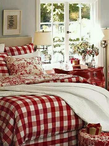 Red and white gingham bed
