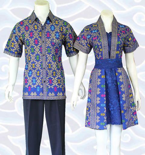 batik dress sarimbit couple biru kombinasi broklat dan katun SM351 motif prodo keren di http://senandung.net/baju-batik-couple-modern-online/