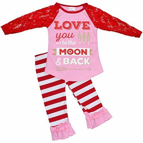 unique baby girls 2 piece lace sleeved love to the moon valentines day outfit