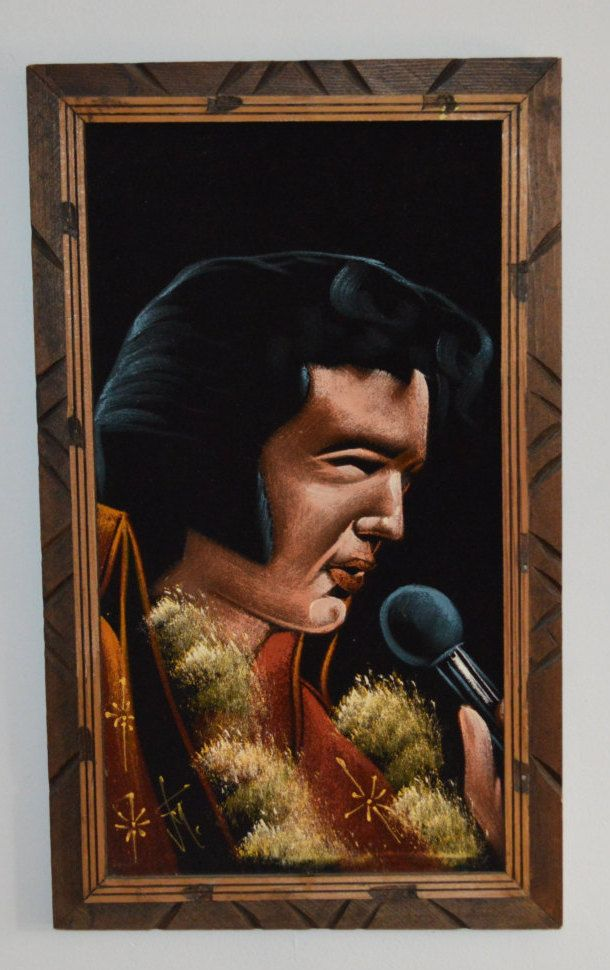 Vintage Elvis Black Velvet Signed Painting Made in Mexico by Retrorrific on Etsy