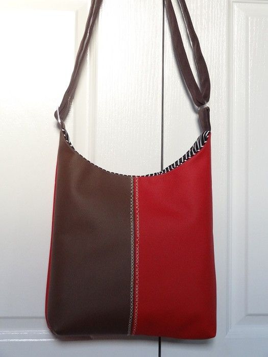 Red and Chocolate Duo-Tone Vinyl Sling/Shoulder Bag - by OneBusySloth on madeit