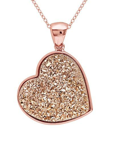 Rose Druzy Heart Necklace ♥