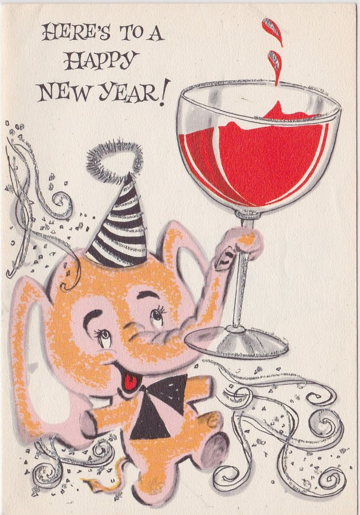 Charming Elephant wishes a Happy New Year - Vintage Unused Greeting Card by OldCards on Etsy https://www.etsy.com/listing/229578526/charming-elephant-wishes-a-happy-new