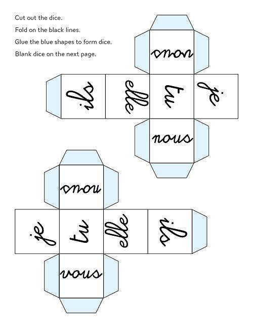 French pronouns dice. Can make into a verb conjugation game