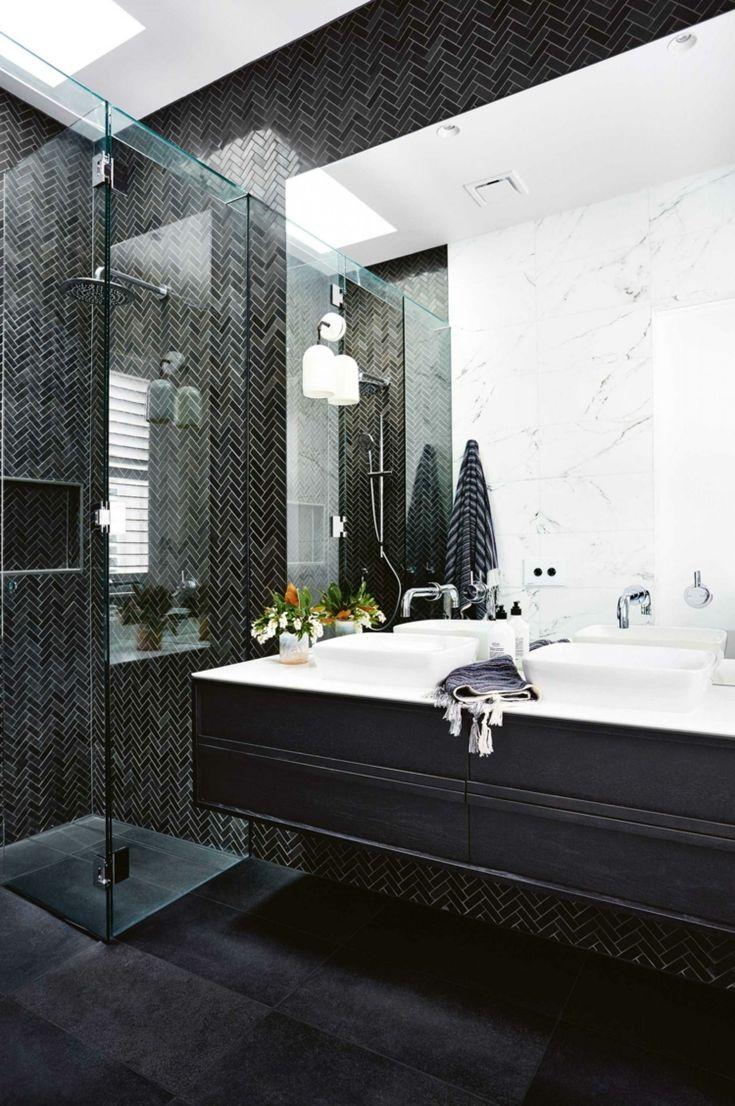 Badezimmer In Schwarz Fliesen Boden Waschbecken #bathroom #style