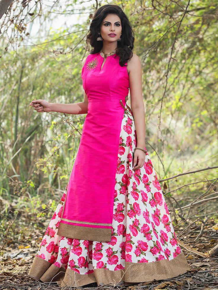Magenta Raw Silk Ready Made Party Wear Lehenga Cum Salwar Suit
