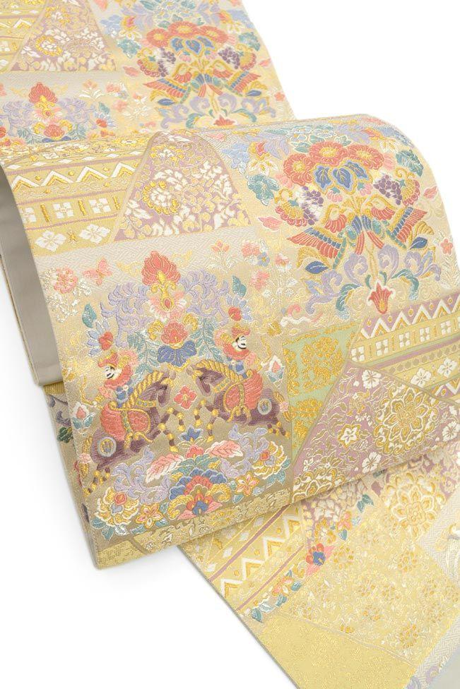 【とみや織物】 創作西陣織袋帯 「裂取正倉院華文・アイボリー」