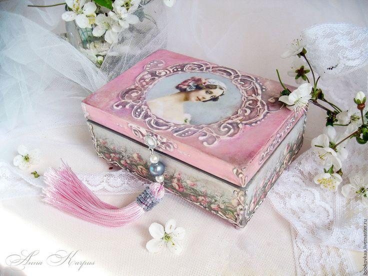 """Купить Шкатулка """"Анна Павлова"""" подарок для девушки Весна Нежность - бледно-розовый, декупаж работы"""