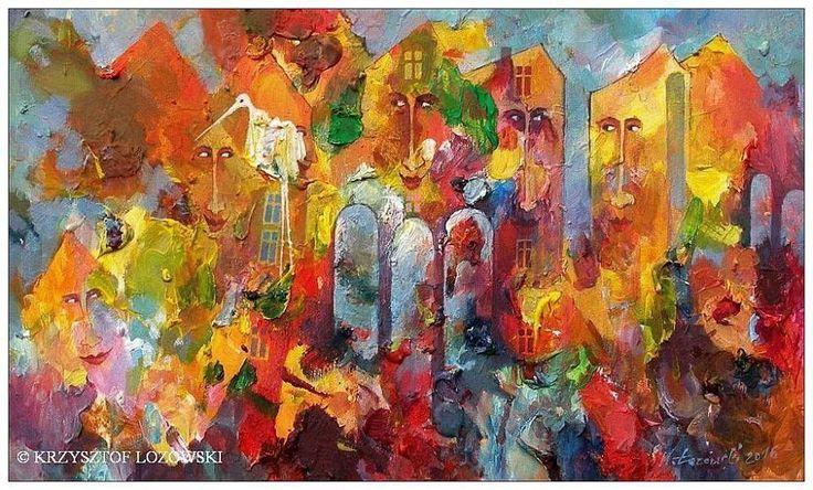 Fairyland and Bird, acrylic on canvas 50x30cm Krzysztof Lozowski