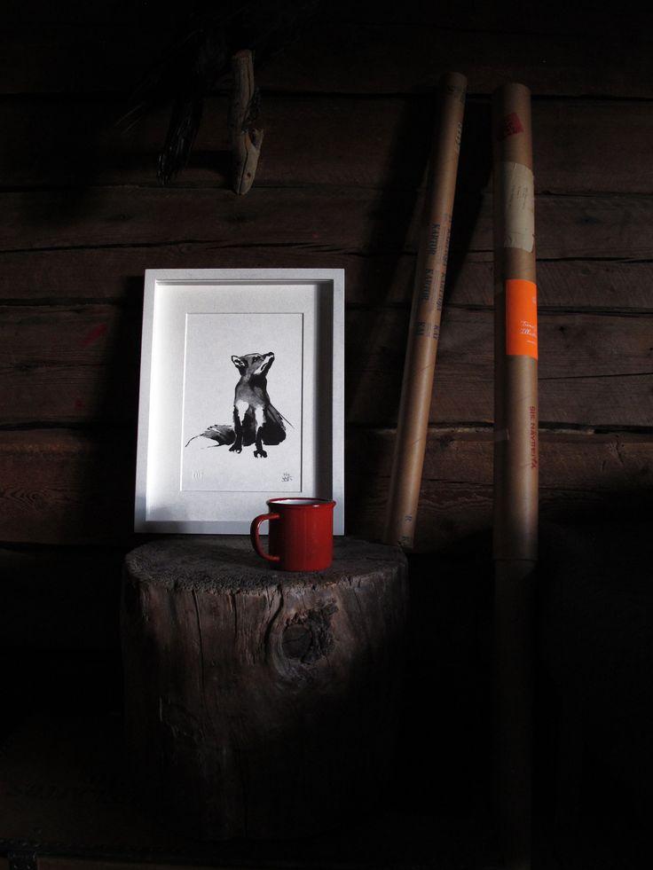 Red Fox Fine Art Print on Paper Teemu Järvi Illustrations http://www.teemujarvi.com/en/shop/paper-prints/69-fox.html