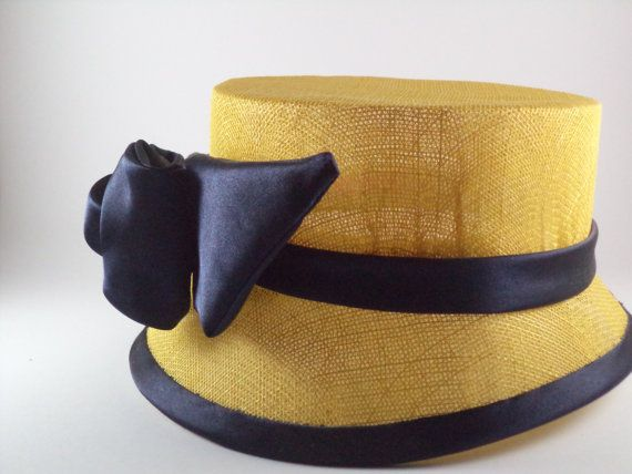 Yellow sinamay cloche with navy satin bow by MillinerybyMelissa