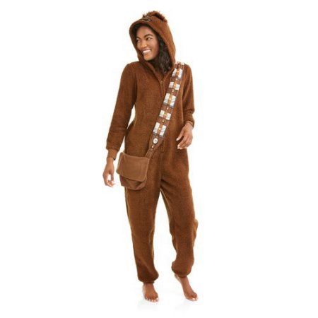 Disney's Chewbacca Women's and Women's Plus Licensed Sleepwear Adult Costume Union Suit Pajama (XS-3X), Brown