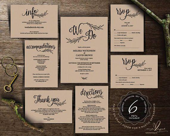 194 best wedding invitation images on pinterest rustic wedding invitation cards suite instant download pdf editable template kraft calligraphy design theme wedding set ted3721 stopboris Gallery