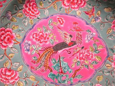 peony and phoenix are common motifs on peranakan pottery