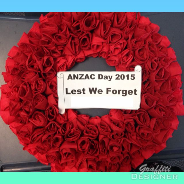 ANZAC Day wreath - 2015 Serviette roses instead of poppies for the centenary.